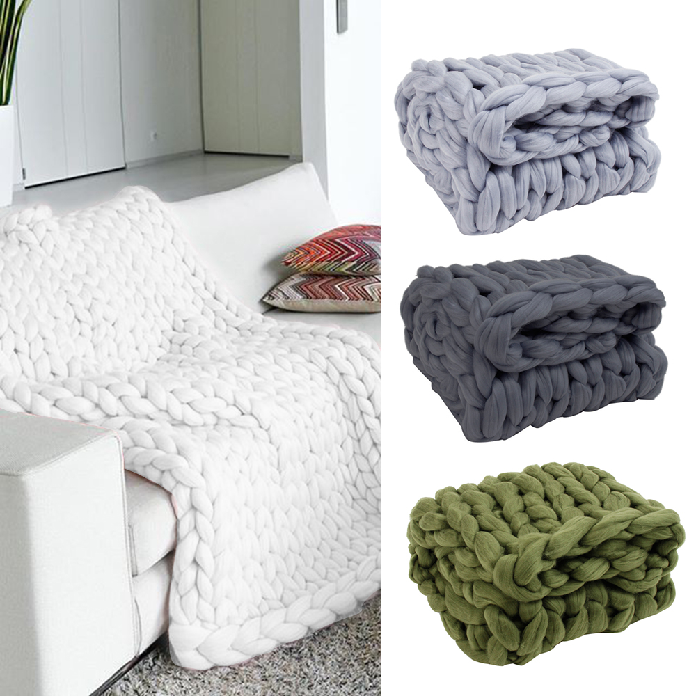 Sofa Throws Knitted 100 120cm Knitting Throw Blanket Yarn Fur Blanket Hand Knitted