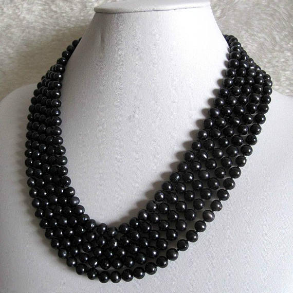 Black Color Freshwater Pearl Necklace AA 7-8MM Real Pearl Jewelry 120cm Long Pearl Necklace New Free Shipping все цены