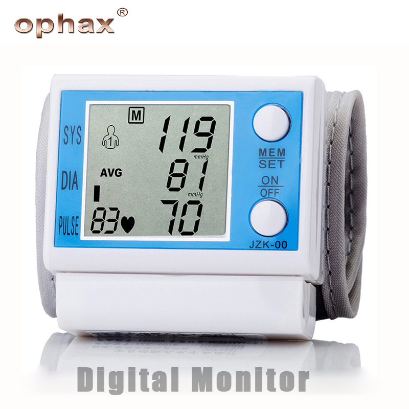 OPHAX Digital Wrist Blood Pressure Monitor Meter Automatic Sphygmomanometer Portable Cuff Blood Pressure Monitor Health Care