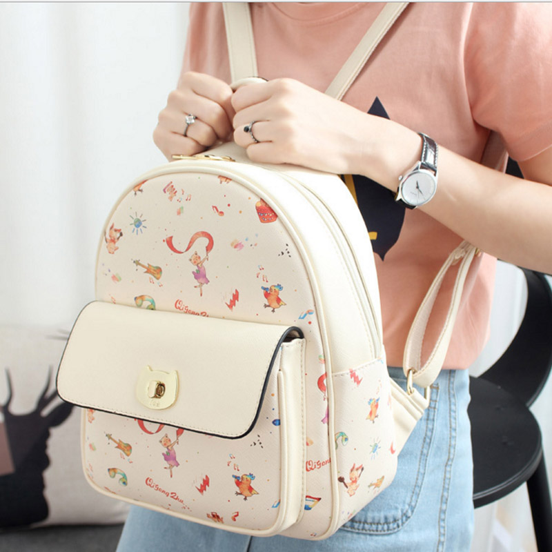 Backpack Women PU Leather Bag Girls cartoon Bag Small Women Backpack Mochila Feminina student School Bags for Teenagers
