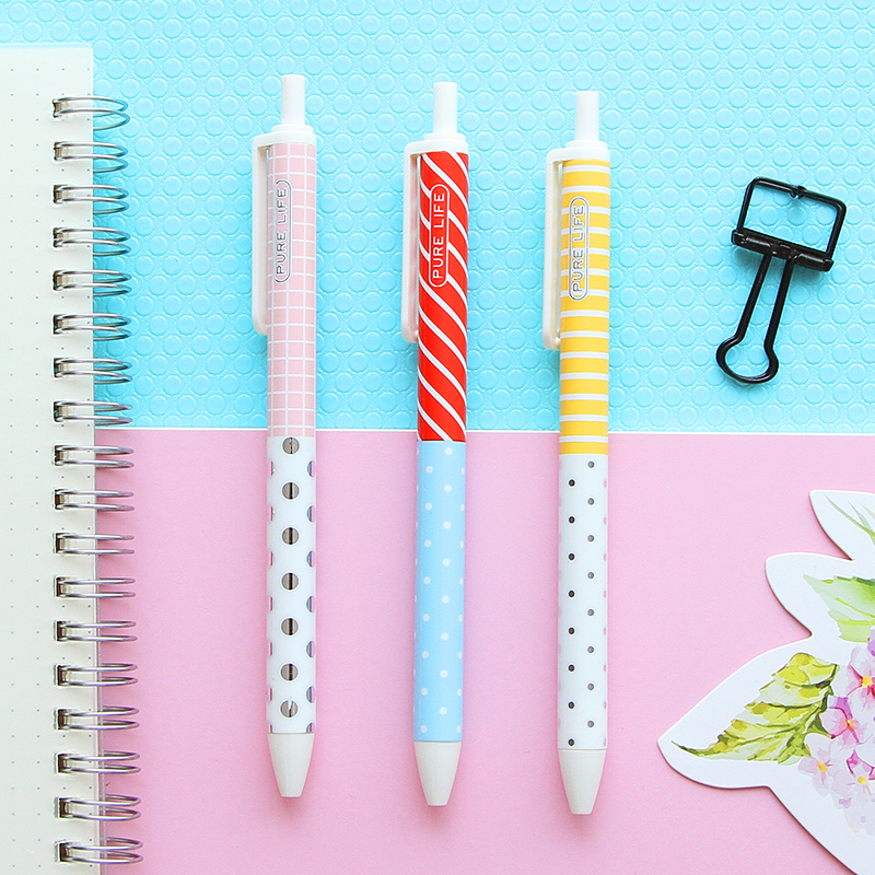 N04 3X Fresh Simple Stripe Dots Press Gel Pen Sweet Color School Office Supply Student Stationery Writing Signing Tool 0.5mm