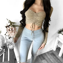 Sexy Navel Wrapped Chest Top Fashion Solid Color Long Sleeve Knitted Crop Top Bandage Knot Decor Office Lady Short Top(China)