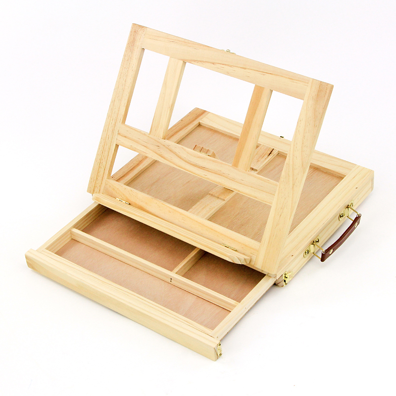 Artist Wooden Table Box Easel for Painting with Drawer Box Portable Desktop Suitcase Painting Hardware Art Supplies table easel artist craft with integrated wooden box art drawing painting table box scll