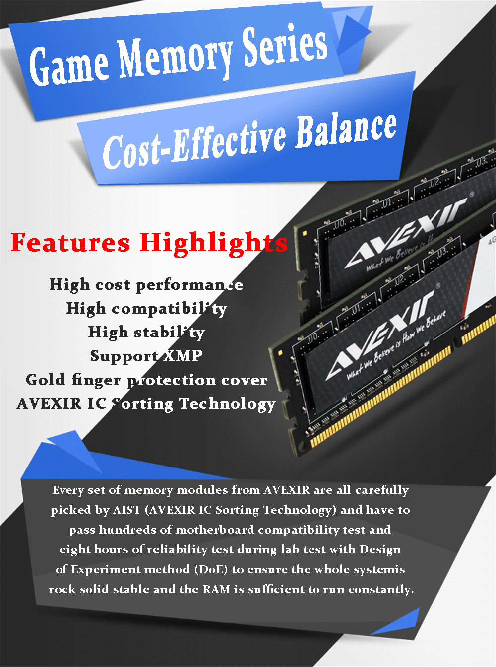 AVEXIR RAM DDR3 4GB / DDR3 8GB Memory Frequency 1600MHz 1.5V Desktop memory Interface Type 240pin 11-11-11-28 CL=11 Single RAMs 45