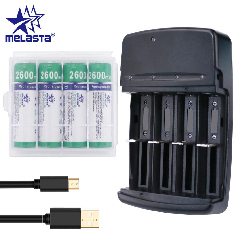 Melasta NIZN AA 1.65V 2600mWh Rechargeable Battery With 4 Slots LED USB Charger Ni-Zn Rechargeable Batteries For Toys MP3 Camera
