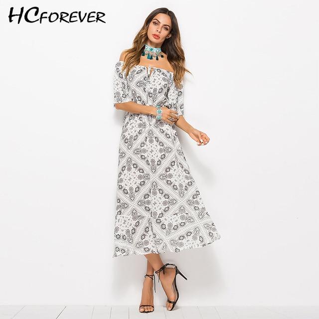 ecafd0169 Verano Maxi Vestido Mujer estampado elegante Casual vestidos largos playa  de hombro blanco verde Boho algodón