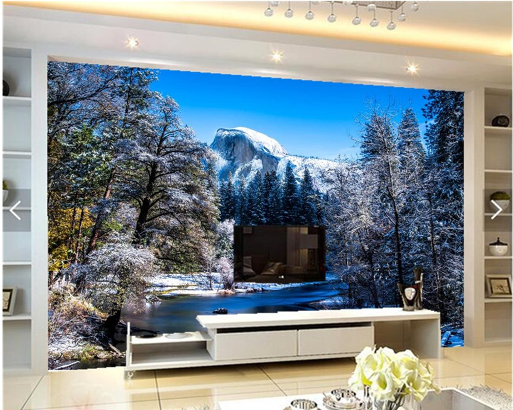 Custom 3D mural,USA Parks Winter Scenery Snow Nature papel de parede ,living room sofa tv wall bedroom stereoscopic wallpaper custom 3d mural wallpaper european style painting stereoscopic relief jade living room tv backdrop bedroom photo wall paper 3d