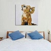 100% Handgeschilderd Olieverfschilderij Muziek Hond Kunst Moderne Abstracte Mooie Animal Schilderijen