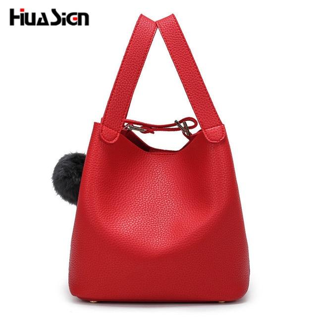 ae88237bf024 Top-Handle Women Bags Fashion PU Women s Leather Handbags Black Women Bag  Tassel Fur Bag Ball High Quality Small Bucket Bags Sac