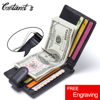 2017 New Classic Men Wallet Money Clips Slim Genuine Leather Clamp For Money Fashion Brand Zipper