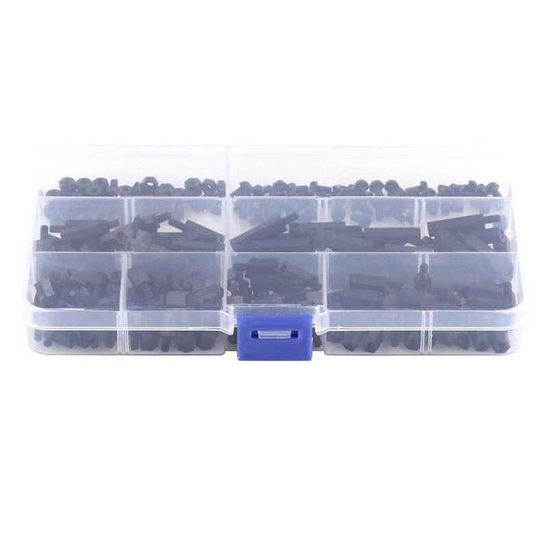250x Plastic Nylon M3 Hex Column Standoff Spacer Screw Nut Assortment Kit