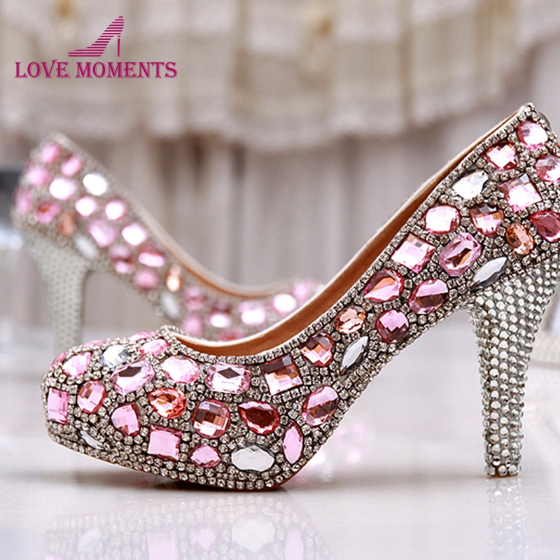 Spring 4 Inches Single Dress Shoes Pink Crystal Wedding Dress Shoes Luxury Gorgeous Ladies Platform Party Prom High Heels large size 11 gorgeous purple crystal platform heels pumps women wedding party dress shoes 5 inches wedding bouquet prom shoes