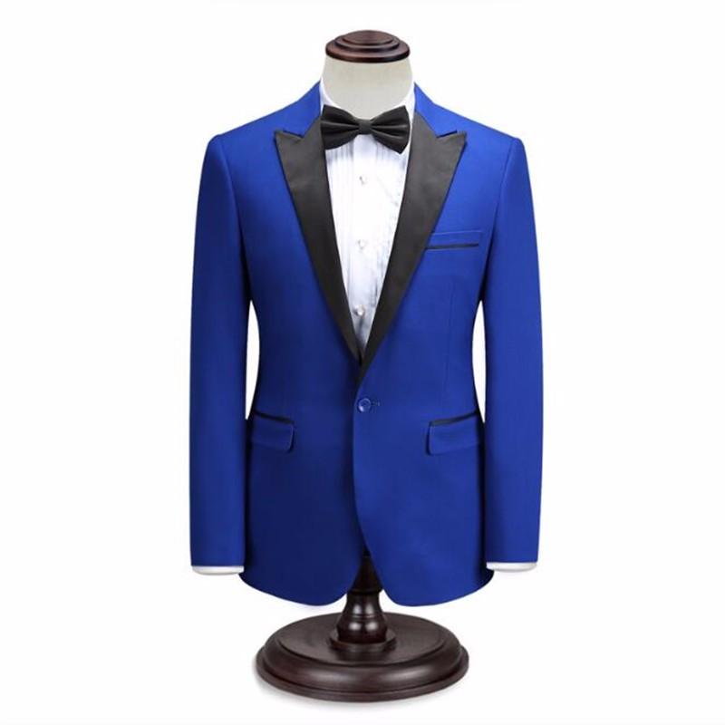 8.1Black and blue men suits jacket custom men\'s wedding tuxedos jacket one button stylish prom party dress jacket