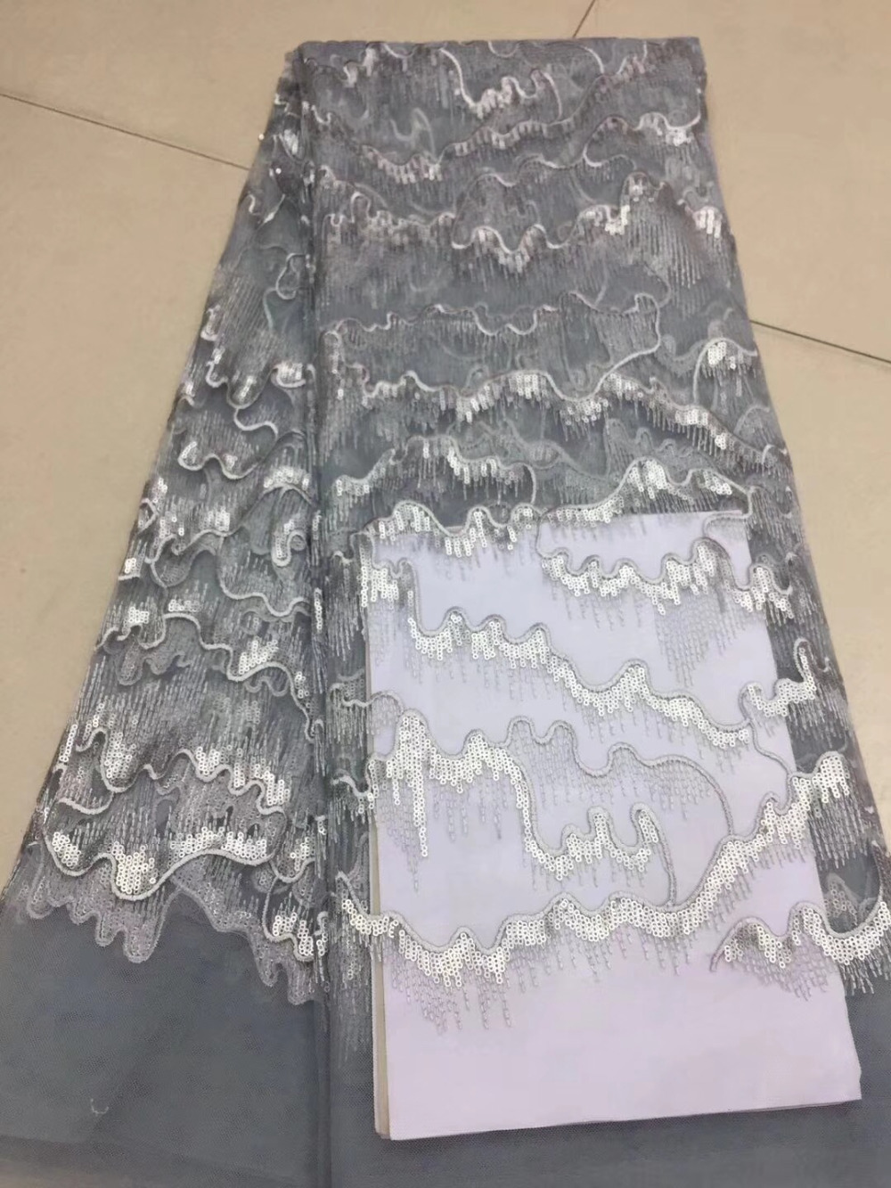 gray Nigeria Wedding Party Dress Lace Embroidered Tulle Fabric With sequins African French Lace Fabric High Quality 5 Yards