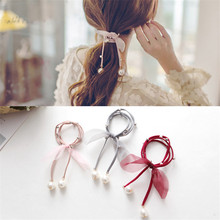 Fashion Girl Tulle Bow Tassel Bead Headband Pearl  Headdress Flower Hair Accessories Rivet Small Fresh Rubber Band for Female