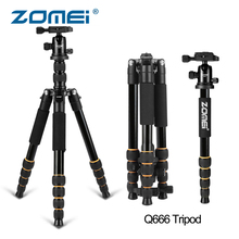 ZOMEI Q666 Portable Tripod Camera Stand Professional Monopod with Ball Head Lightweight Compact Tripode for Canon Nikon DSLR