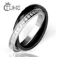 Mulheres Anéis Feitos de Cerâmica Anéis Duplo Dois Anéis Transversais de aço Inoxidável de Cristal CZ bijou ceramique anillo acero inoxidable