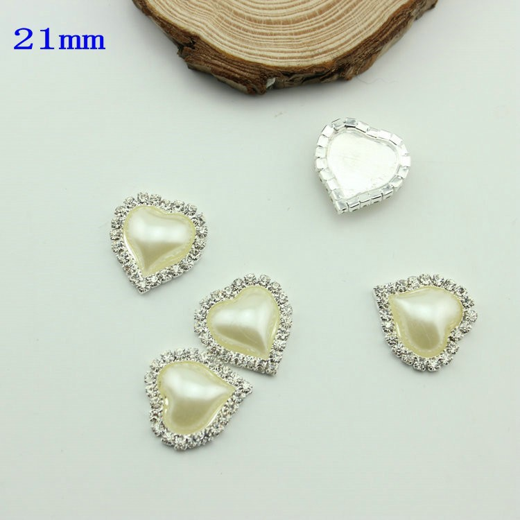 Hot Sale in Stock!100pcs IVORY HEART Rhinestone Button Diamante Pearl for Hair Flower Wedding Invitation Scrapbooking