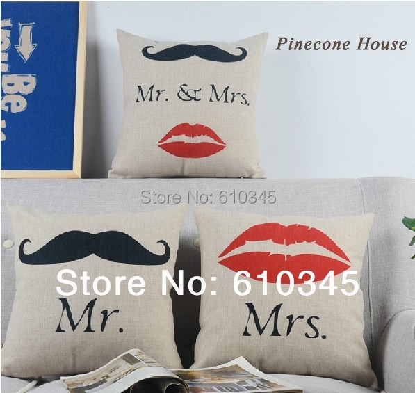 Free Shipping Mr Mustache And Mrs Red Lip Home Decor Cushion Linen Cotton  Pillow Sofa Cushions Decorative Throw Pillow 3pcs/lot In Cushion From Home  ...