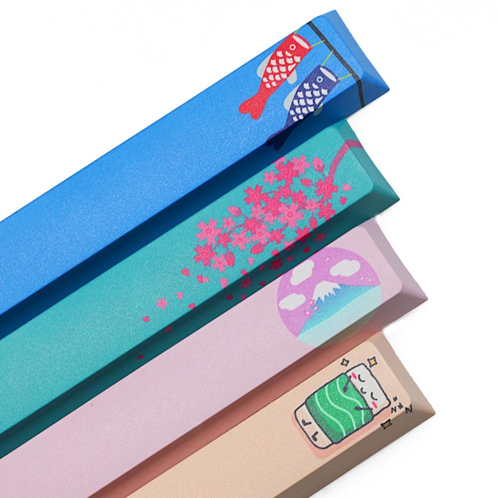 Novelty Allover Dye Subbed Keycap Spacebar Pbt Custom Mechanical Keyboard Japan Japanese Sakura Carp Flags Mount Fuji Sushi