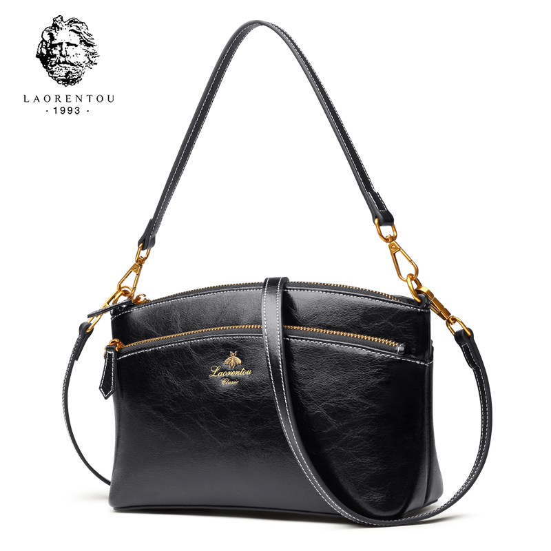 LAORENTOU Brand Lady Vintage Split Leather Small Handbags Women High Fashion Shoulder Bag Crossbody Bag for
