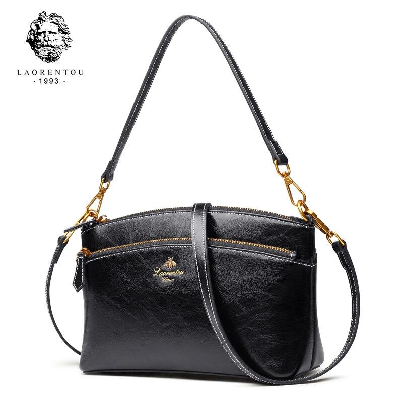 を LAORENTOU ブランド女性ヴィンテージスプリットレザースモールハンドバッグ女性ハイファッションショルダーバッグ & クロスボディ女性  グループ上の スーツケース & バッグ からの ショッピングバッグ の中 1