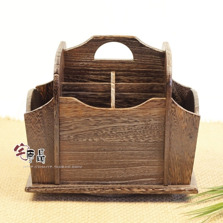 Japanese style Desktop remote control storage box storage box creativity Paulownia wood burning debris cosmetic storage