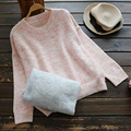 Spring Autumn Casual Sweet Thin Solid Hit Color Sweater Women's O Necked Flower Line Cute Female Vestido Sweater Mori Girl U615