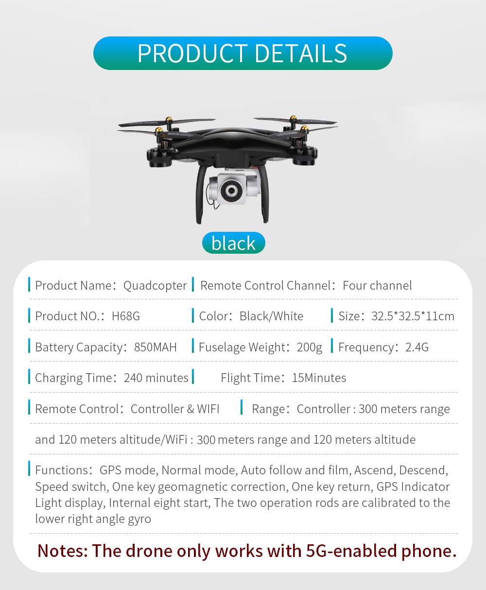 JJRC H68G GPS Drone With Camera 1080P HD 5G Wifi FPV Quadrocopter RC Helicopter Professional Dron Compass Auto Follow Quadcopter 16