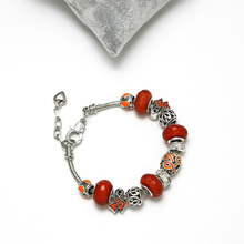 KEORMA Adjustable Chain Ribbon Charm Bracelet & Bangles for Women With Orange Color Murano Glass Beads Bracelet Jewelry Fashion