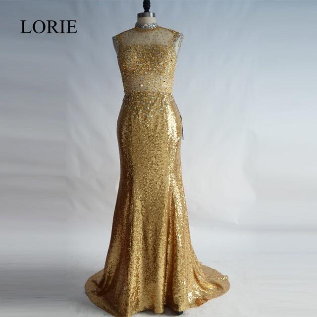 Sequin Gold Evening Dresses 2017 Abendkleider Lang Elegant Women ...