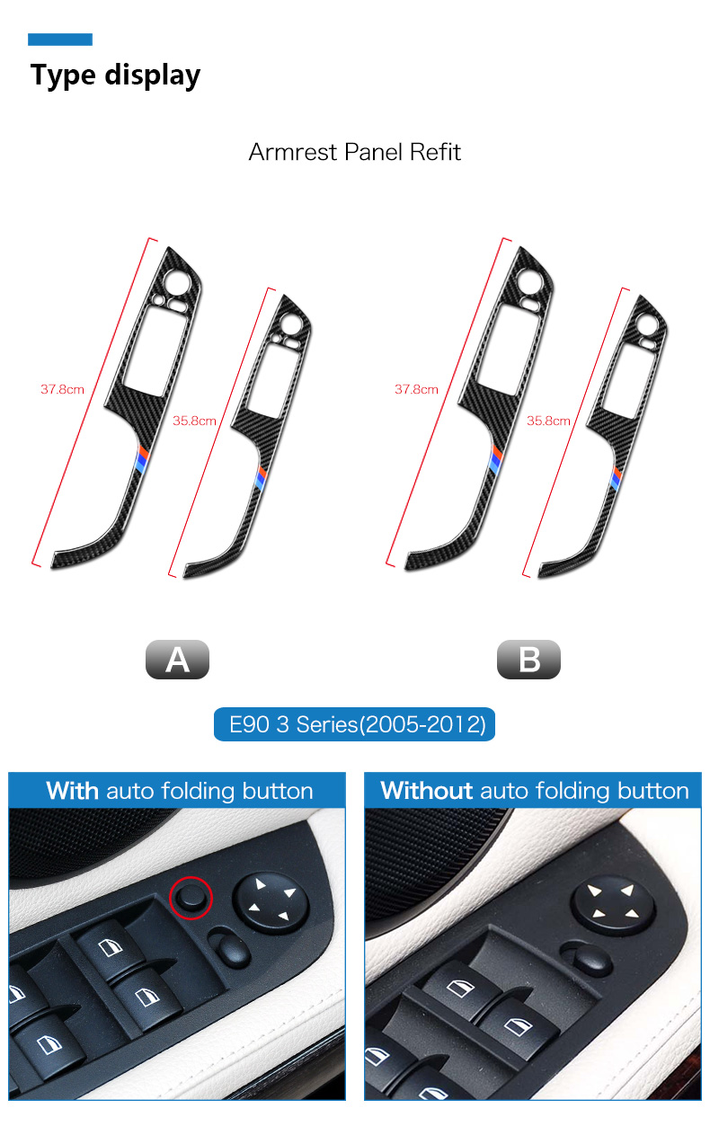 BMW 3 Series E90 E93 Accessories LHD Car Interior Carbon Fiber Door Window Switch Panel Cover Trim Car Styling (2)