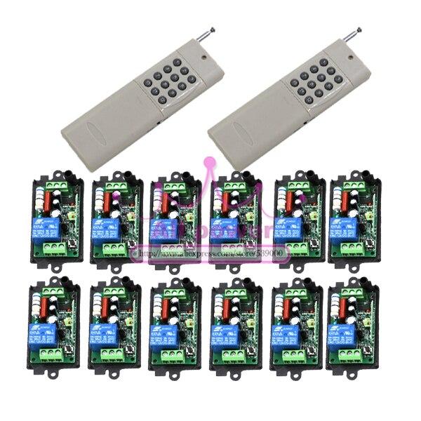 AC220V 1CH 315/433 MHz  RF Wireless Radio Switch Remote Switch 220v Learning Code 2Controller&12ReceiverAC220V 1CH 315/433 MHz  RF Wireless Radio Switch Remote Switch 220v Learning Code 2Controller&12Receiver