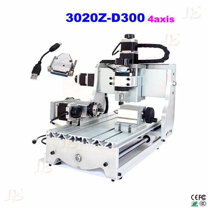 Hot selling mini desktop cnc machine 3020Z-D300 4axis with ball screw and pressure device,pliers and USB parallel port adapter cnc router wood milling machine cnc 3040z vfd800w 3axis usb for wood working with ball screw