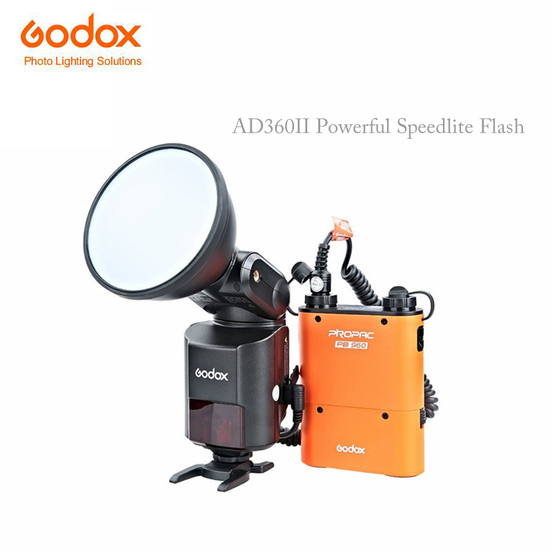 Godox Witstro AD360II TTL 360W GN80 Powerful Speedlite Flash Light with PB960 Lithium Battery Black for Nikon Canon godox witstro ad 360 ad360ii n ttl flash speedlite pb960 battery pack black x1n wireless transmitter for nikon dslr camera