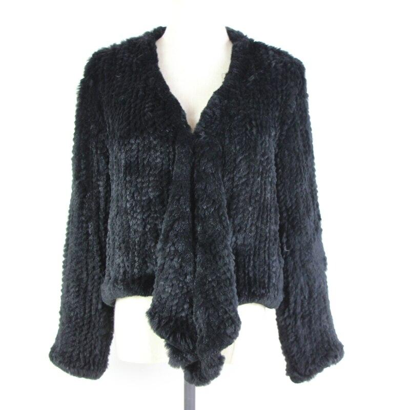 2019 Top Fashion Skirt Full Women Style Knitted Real Rabbit Fur Coat Genuine Fur Jacket Winter