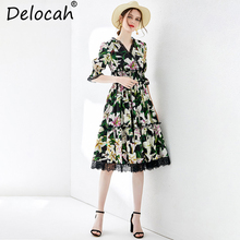Delocah Women Summer Cotton Dresses Runway Fashion V Neck Lily Floral Printed Lace Splice Elastic Waist Vintage Party Midi Dress