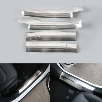 YAQUICKA 4pcs/set Stainless Steel Car Door Sill Step Guard Protector Cover Trim Sequins For Jeep Renegade 2015 2016 Car Styling