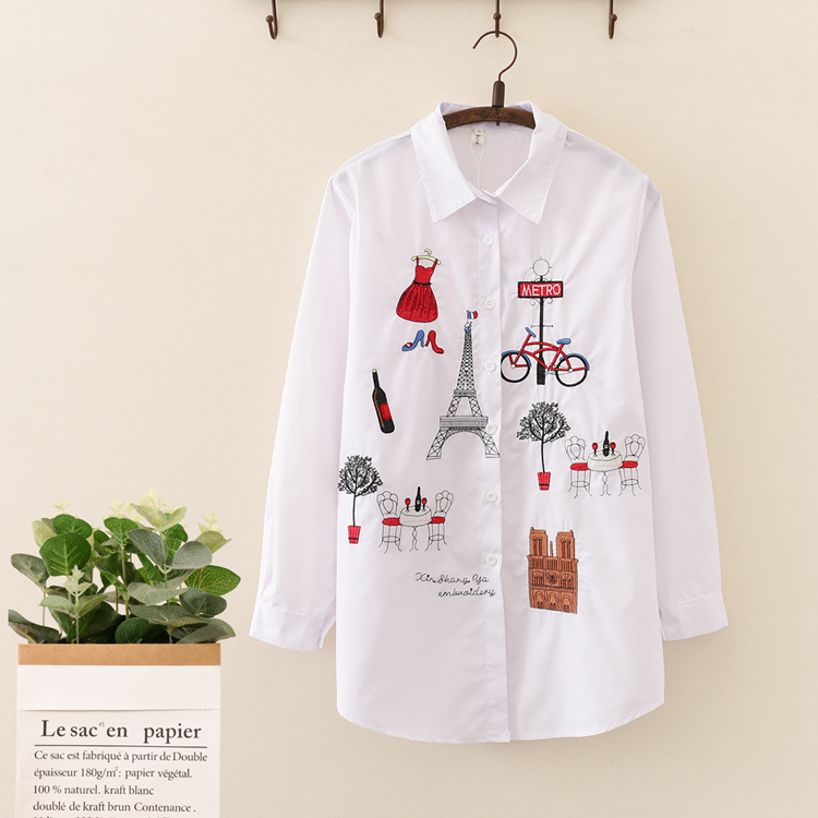 HTB1hamkX7L0gK0jSZFAq6AA9pXaE - New White Women Blouse 19 Long Sleeve Cotton Embroidery Blouse Lady Casual Button Design Turn Down Collar Female Shirt  5083 50