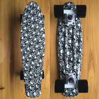Black Skull Newspaper Printed Mini Cruiser Plastic Skateboard 22 X 6 Retro Longboard Skate Long Board