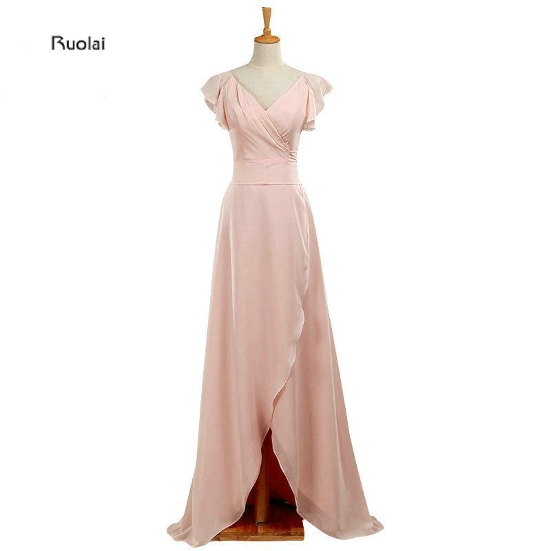 New Arrival Pink 2016 Ruffles V Neck Cap Sleeves A Line Floor Length   Bridesmaid     Dresses   Long Maid Of Honor   Dress