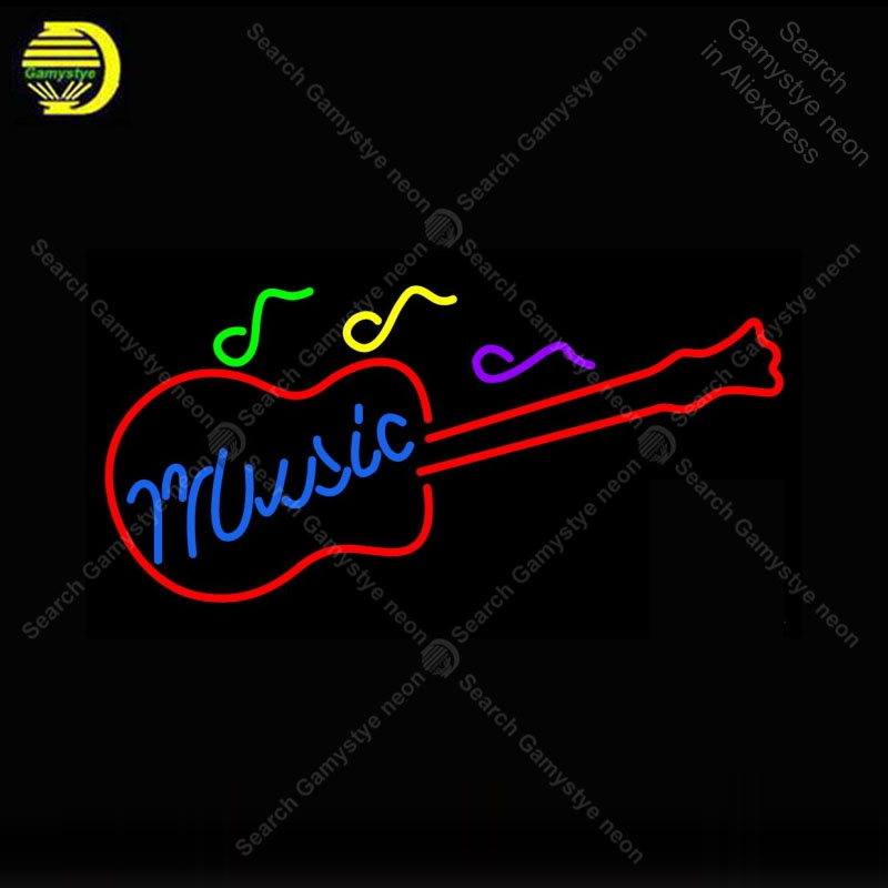 Music Guitar Neon Sign neon lamp GLASS Tube BEER BAR Pub Store Display Handcraft vintage Iconic Sign personalized cool neon sign four colors atari neon sign neon bulb sign glass tube neon light recreation club pub iconic sign advertise arcade lamp wholesale