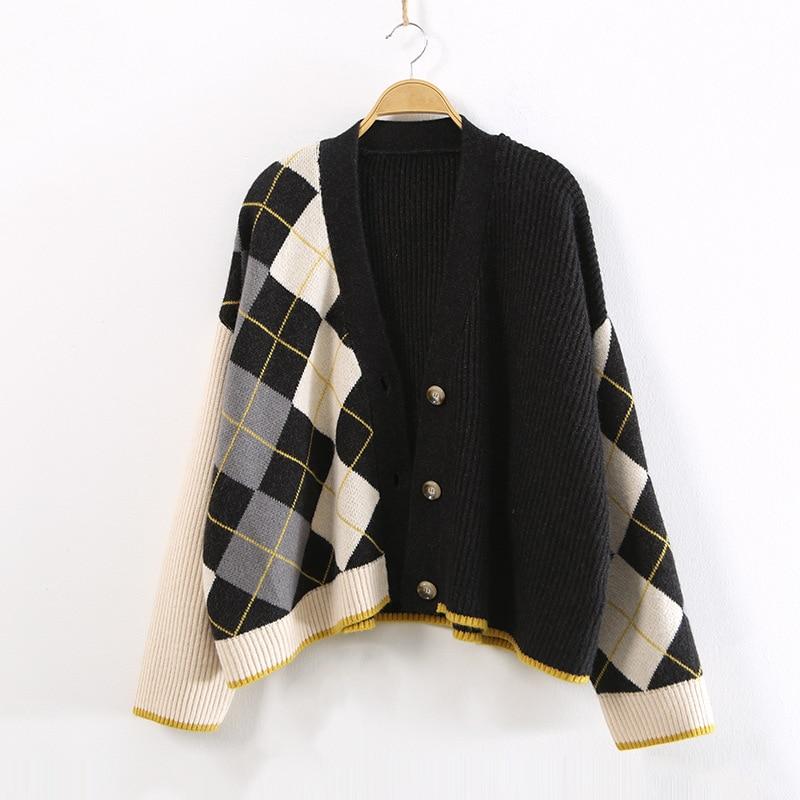 V Bande Coréenne Taille Chandail black Automne Femmes Beige Coton En Plus À Manches Col Vêtements 40507 Pulls Hiver Longues Pour Casual La Les Haut Noir Dessinée wBIxq4Ox5