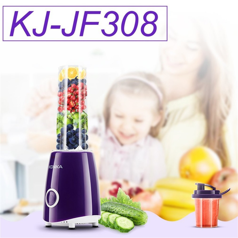 KONKA Mini Portable Electric Juicer Multifunctional Household Fruit Juice Machine Blender Smoothie Milkshake Maker KJ-JF308 konka kj jf302 500ml portable electric juicer multi function household vegetable juice extractor portable blender juicer machine