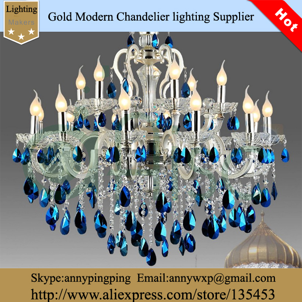 2014 Fashion luxury Blue Crystal Decoration Aluminum Frame 8 Lamps Candle Made China - Zhongshan K&C LED Lighting store