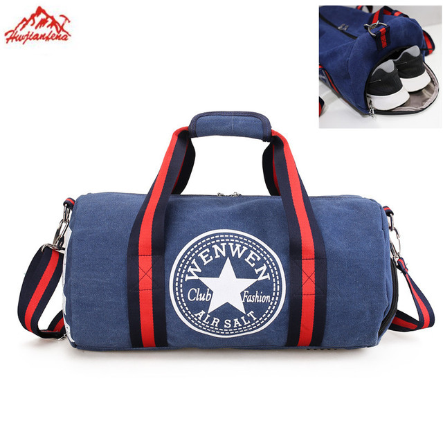 Foldable Sports Duffel Gym Bag For Women Men With Shoe Compartment Lightweight Waterproof Travel Carry On Weekend