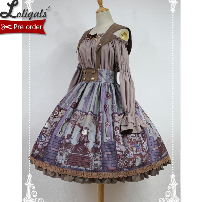 Steampunk Cat-serie Lolita geprinte A-lijn rok met afneembare - Dameskleding