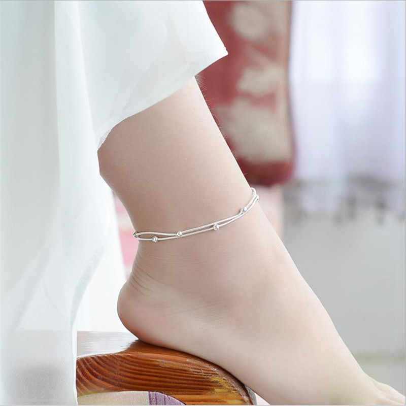 TJP New Arrival 925 Silver Anklets For Women Party Jewelry Top Quality Double Layer Snake Chain Balls Girl Lady Accessories Gift