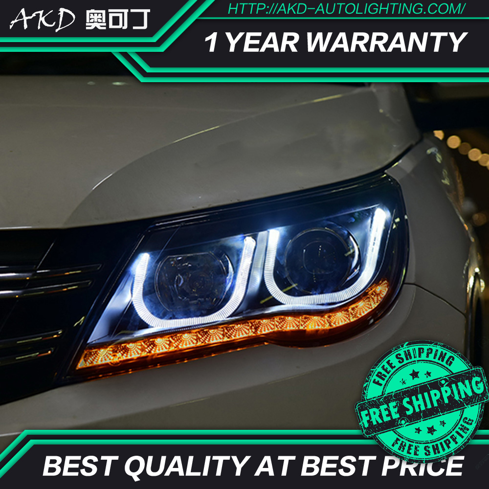 AKD tuning car Headlight for Volkswagen Tiguan 2010 2012 Headlight LED DRL Hid Bi Xenon beam