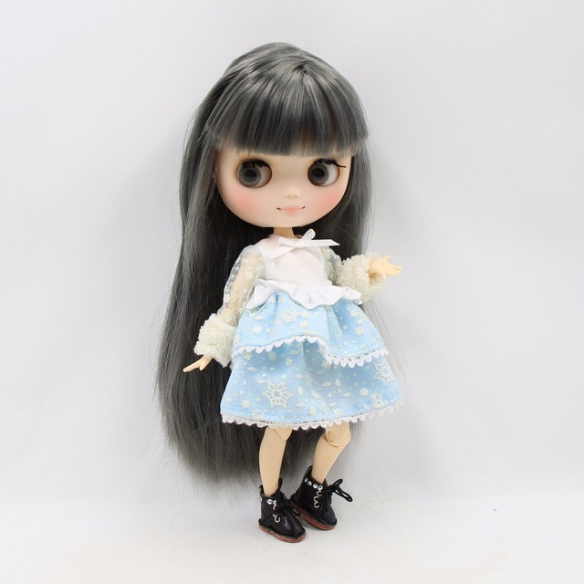 ICY Middie Blythe Doll Grey Hair Jointed Body 20cm